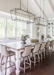 Lantern Pendant Light For Kitchen French Style Dining Area In Kitchen With Linen Covered Wooden Bar