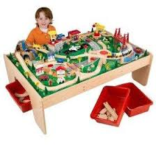 wooden toy trains and table