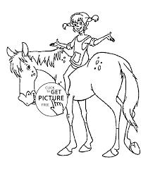 on the horse coloring pages for kids printable free pippi