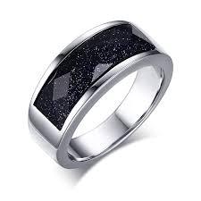 blue steel rings images High quatity 316l stainless steel rings for men dark blue sand jpg