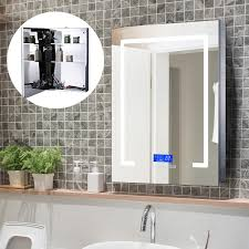 Bathroom Mirror And Shelf Homcom 3 Inner Shelves Bathroom Mirror Cabinet Wall Led