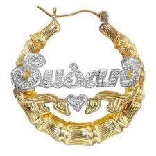 name hoop earrings two tone bamboo name hoop earrings in sterling silver with 24k