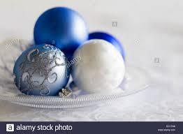 Christmas Decorations Blue Silver And White by Blue Silver And White Christmas Decorations Stock Photo Royalty