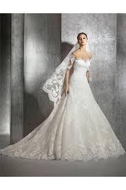 a line illusion neckline short sleeve tulle lace wedding dress