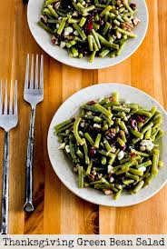 thanksgiving green bean salad with blue cheese dried cranberries