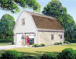 mother earth news 2 car garage with loft gambrel roof e plan