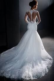 robe sirene mariage de mariée sirène col montant manches longues dos nu