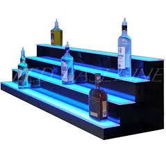 lighted display stand for glass art 34 4 step led lighted bar shelf liquor bottle display