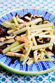 chinese style cold tossed celery tofu sheet and cloud ears