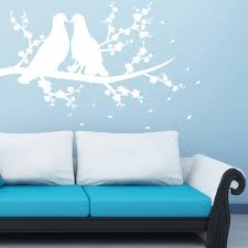 bird feathers wall stickers iconwallstickers co uk doves on a branch silhouette birds feathers wall stickers home decor art decal