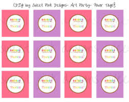 party favor labels paint party favor tags party printable party favor