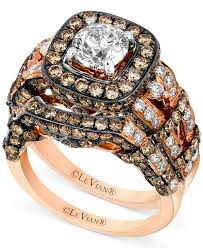 Chocolate Diamond Wedding Rings by Le Vian 14k Rose Gold Ring Set White Diamond 1 3 8 Ct T W And