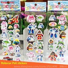 shop 10pcs lot cute robocar poli bubble stickers korea