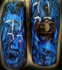 custom paint candy blue skulls chains airbrush pinterest