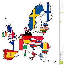 European Country Map by Map And Flag Of European Countries Royalty Free Stock Image
