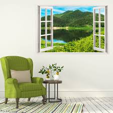mountain lake 3d window view sticker decal home decor wall mural mountain lake 3d window view sticker decal home decor wall mural sticker w146 what s it worth