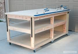Work Bench Table How To Build A Diy Mobile Workbench With Shelves