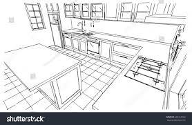 kitchen design sketch perspective kitchen sketch design stock vector 659551063