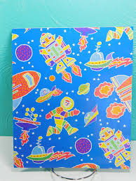 space wrapping paper 1 sheet vintage outer space wrapping paper astronaut wrapping