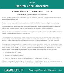 How To Write A Power Of Attorney by Living Will Forms Free Health Care Directive Template Us