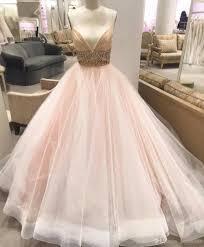 drop waist wedding dress pink blush ball gown 2017 plunging deep v