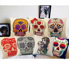 Chocolate Cushion Covers Linen Cushion Covers Skull Printed 45x45cm 17 7x17 7 U0027 U0027 For Sofa