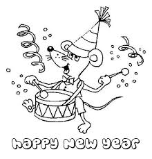 tiny mouse playing drums on 2015 new year coloring page netart