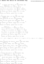 carol song lyrics with chords for i heard the bells on