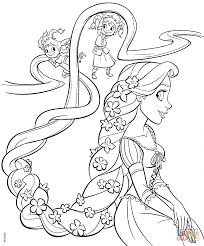 rapunzel and four sisters coloring page free printable coloring