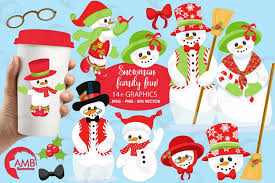 snowman family clipart graphics illus design bundles
