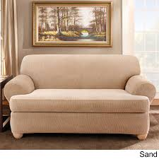 3 Piece T Cushion Slipcovers For Sofas by Sure Fit Stretch Stripe Separate Seat T Cushion Sofa Slipcover