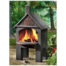 furniture black chiminea fireplace in unique design for outdoor