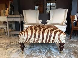 Zebra Chair And Ottoman Furniture Kudu Brown Leather On With Zebra Ottoman Decorative