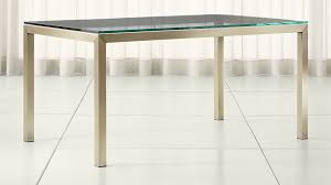 glass parsons dining table parsons clear glass top brass base dining tables crate and barrel