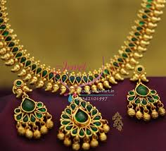 green color necklace set images Nl1912 gold plated mango design green color stones traditional JPG