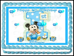 baby mickey 1st birthday baby mickey 1st birthday edible frosting sheet 1 4