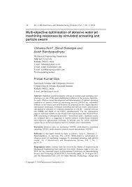 multi objective optimisation of abrasive water jet machining