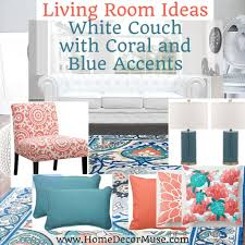 white couch living room with coral and blue accents home decor muse