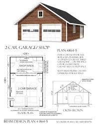 garage plan 2 car attic garage plan with shop in back 864 5 24 x 36 behm
