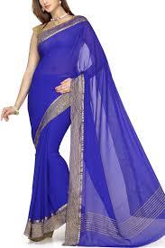 Buy Royal Blue Pure Silk Royal Blue Pure Chiffon Zari Crushed Border Saree Chiffon Chimes