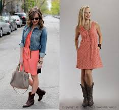 coral dress denim jkt with cowboy boots cowboy boots with