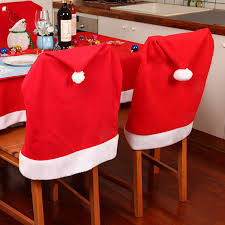 santa chair covers 1pcs christmas hat santa claus chair cover cap dinner table