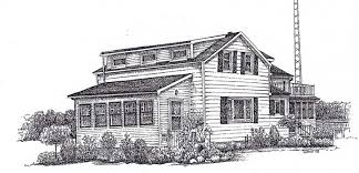 custom pen and ink art sketches or pencil drawings of houses