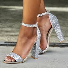 wedding shoes chunky heel women s silver glitter wedding shoes open toe chunky heels sandals