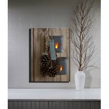 lighted flicking candles lantaarn canvas led wall art decor framed
