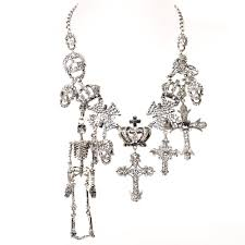 cross skull necklace images Butler wilson multi skull cross and crown with side skeleton jpg
