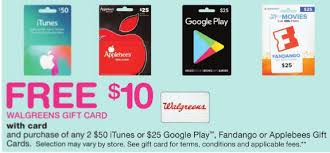 purchase play gift card free 10 walgreens card with purchase of two 50 itunes 25