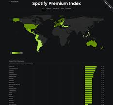 07 World Map by Spotify Premium Index Reveals How Price Differs Around The World