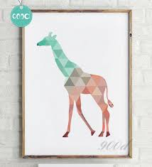 home decor giraffe geometric giraffe canvas art print painting poster wall pictures