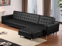 canape d angle cuire canapé d angle réversible et convertible en simili cuir coleen noir